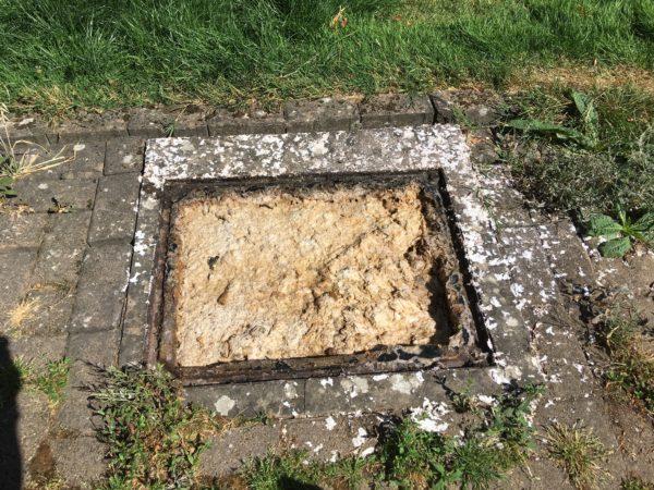 A blocked drain that needs drain jetting